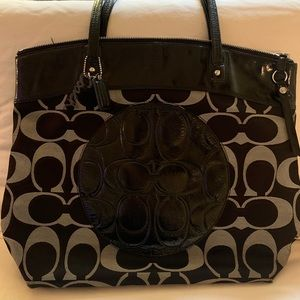 Black Coach Logo Tote Purse